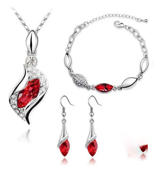 CRYSTAL JEWELRY SET - RED