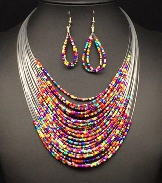 BEAD FASHION NECKLACE/EARRINGS COLOR MIX