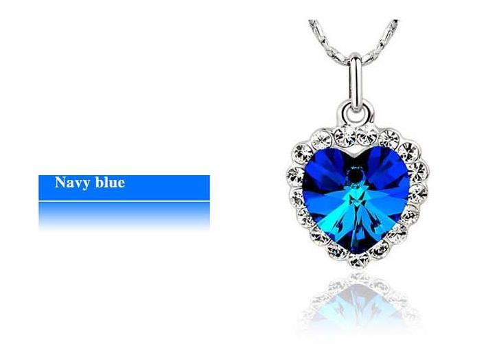 ACCENTED BLUE HEART NECKLACE