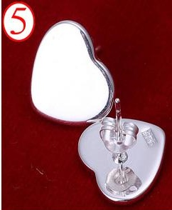 SILVER COLOR SOLID HEART EARRINGS