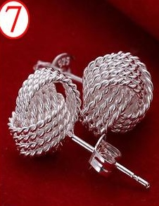 SILVER COLOR WOVEN KNOT EARRINGS