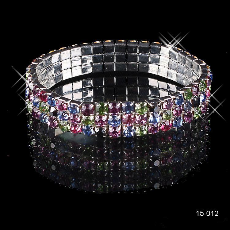 THREE ROW MULTI-COLOR CRYSTAL BRACELET