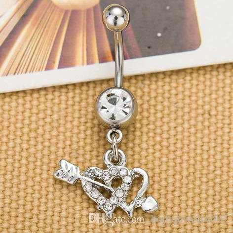 ARROW THROUGH HEART BELLY RING CLEAR