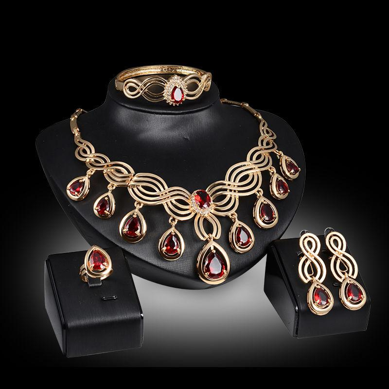 ASIAN RED WEDDING JEWELRY SET