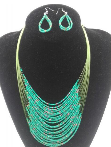 BEAD FASHION NECKLACE/EARRINGS - GREEN