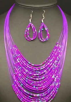 BEAD FASHION NECKLACE/EARRINGS PURPLE