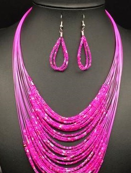 BEAD FASHION NECKLACE/EARRINGS - RED
