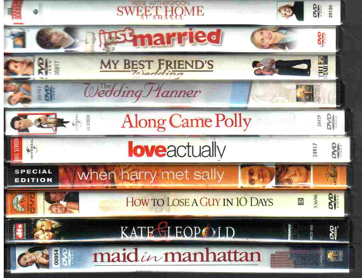 10 USED CHICK FLICK DVDs