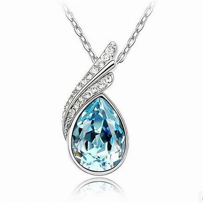 BLUE TEARDROP ACCENTED NECKLACE