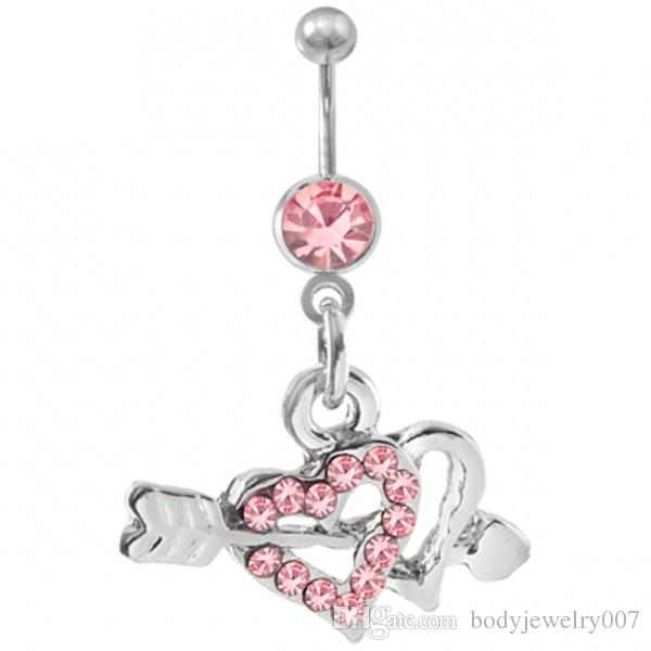 ARROW THROUGH HEART BELLY RING PINK