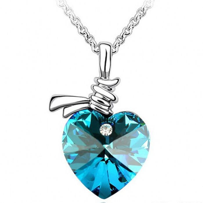 BLUE HEART, PLAIN SETTING NECKLACE