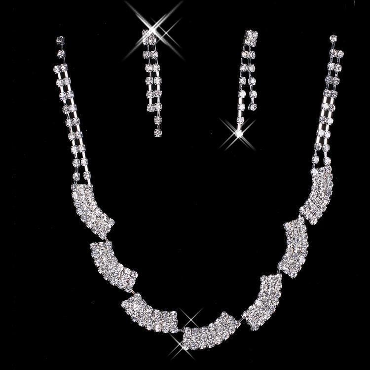 CASCADING CRYSTAL BLOCKS NECKLACE SET
