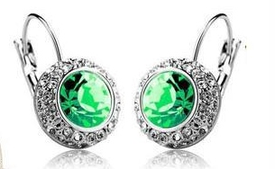 ROUND GREEN CRYSTAL EARRINGS