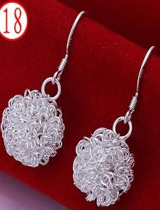 SILVER COLOR BALL OF TWINE EARRINGS