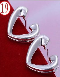 SILVER COLOR OPEN HEART EARRINGS