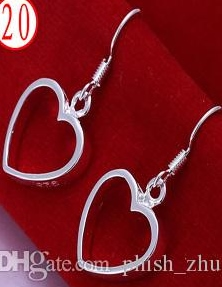 SILVER COLOR HEART OUTLING EARRINGS