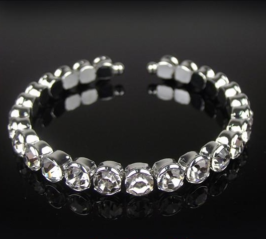 ONE ROW CLEAR CRYSTAL BRACELET - ALL SIZES
