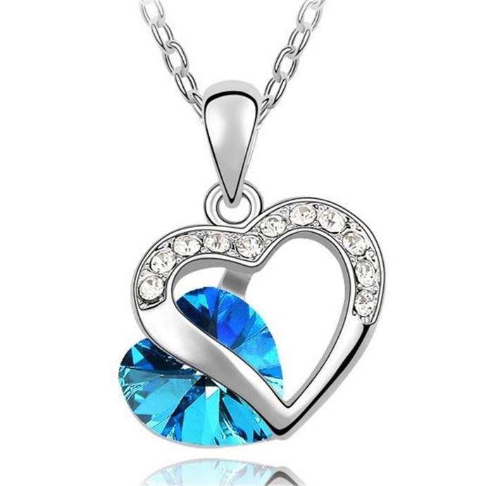 BLUE CRYSTAL HEART WITH HEART SET NECKLACE