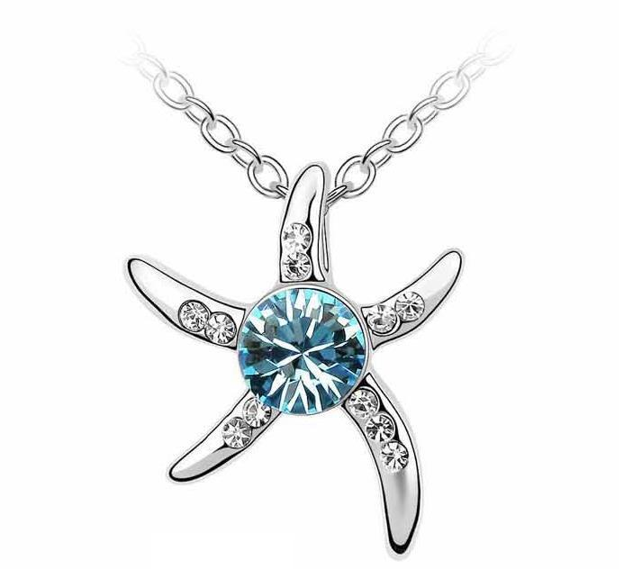 BLUE CRYSTAL STAR NECKLACE