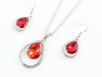 TEAR DROP RED EARRING/ NECKLACE SET