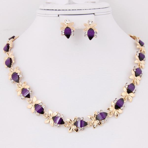 PURPLE RESIN BEAD NECKLACE SET